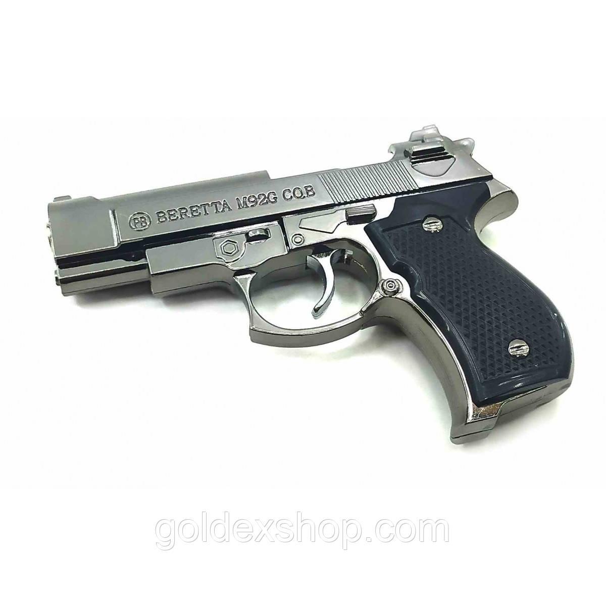 "Зажигалка газовая турбо ""Пистолет"" хром (11х7х2,5 см)"