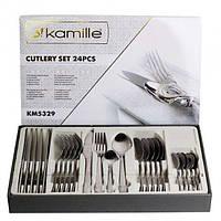 Набор столовых приборов 24 предмета Kamille KM5329 из нержавеющей стали долговечны в использовании, фото 1