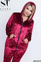 Красивый велюровый женский спортивный костюм (48-54р), фото 1