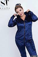 Красивый велюровый женский спортивный костюм (48-54р)