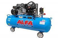 Воздушный компрессор AL-FA ALC150-2 (150 литров) двухцилиндровый двигатель с ременным приводом