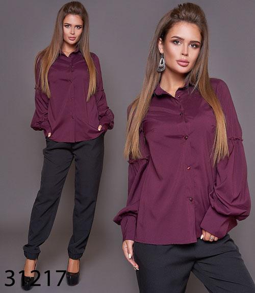 Женская модная блузка с рукавом фонарик р. 42 по 46