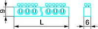 """Нулевая """"N"""" шина 6 х 9 - 8 / 1, на 8 отверстий, 1 отверстие центр, до 40А/Нульова """"N"""" шина 6 x 9 з ізолятором"""