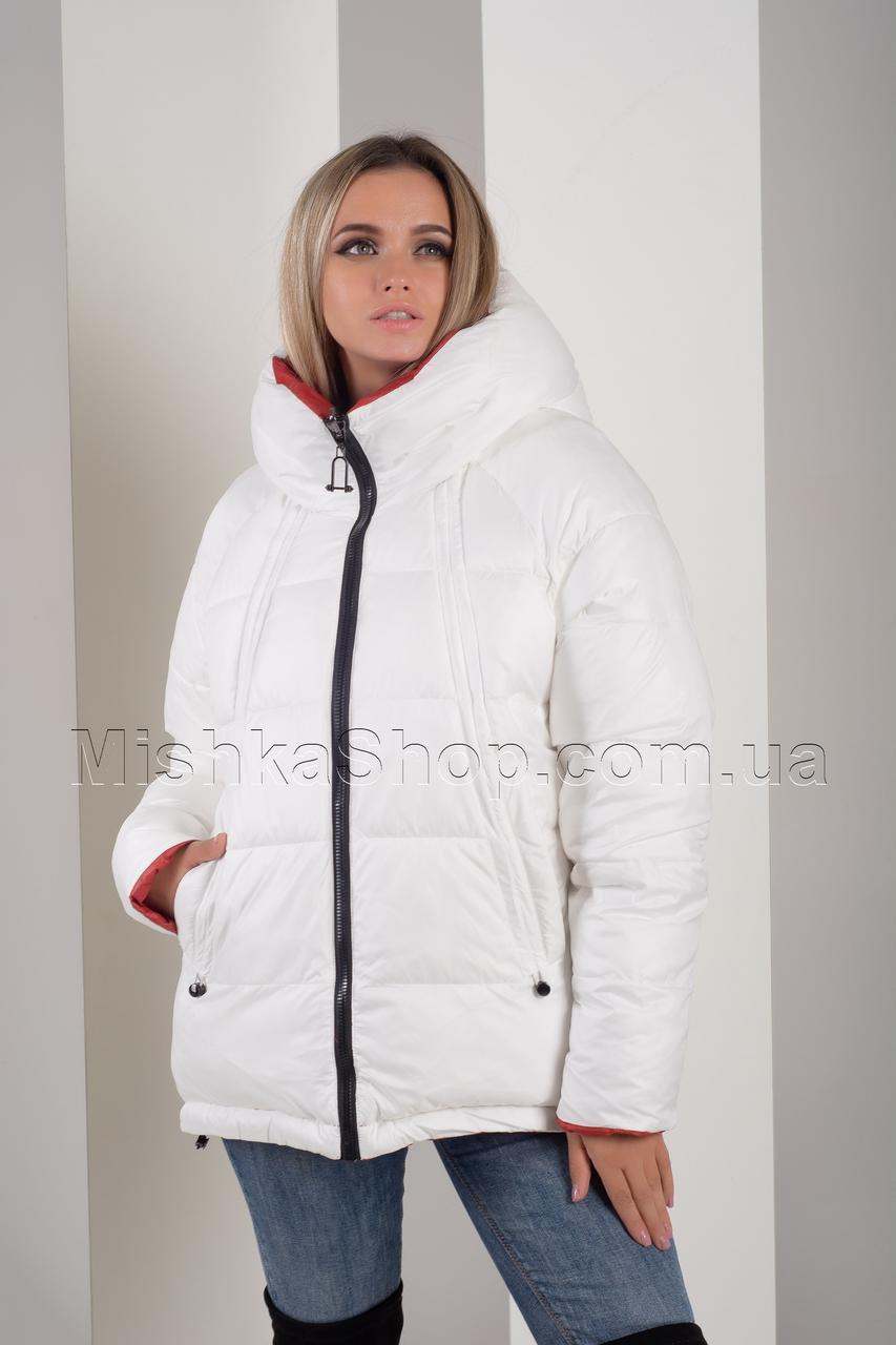 Двусторонняя красивейшая зимняя куртка белый+терракот Button J72-056