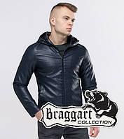 Короткая мужская кожаная куртка Braggart Youth с капюшоном темно-синяя