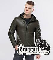 Классная мужская кожаная куртка с капюшоном Бреггарт Юз цвет хаки