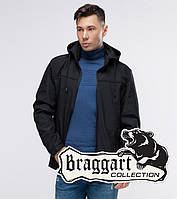 Мужская модная демисезонная ветровка с капюшоном Braggart Youth черная - S
