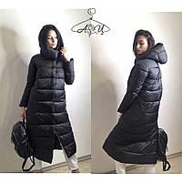 Длинная женская зимняя куртка с объемным капюшоном  42, 44, 46, 48
