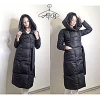 Длинная женская зимняя куртка под пояс с объемным капюшоном  42, 44, 46, 48