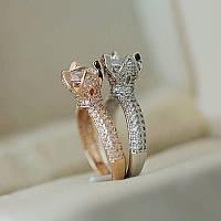Необычное кольцо-тюльпан с кристаллами циркона 18