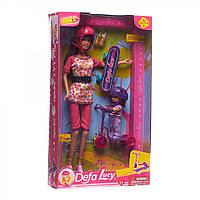 Кукла Defa с дочкой  самокатом и скейтом (8191)