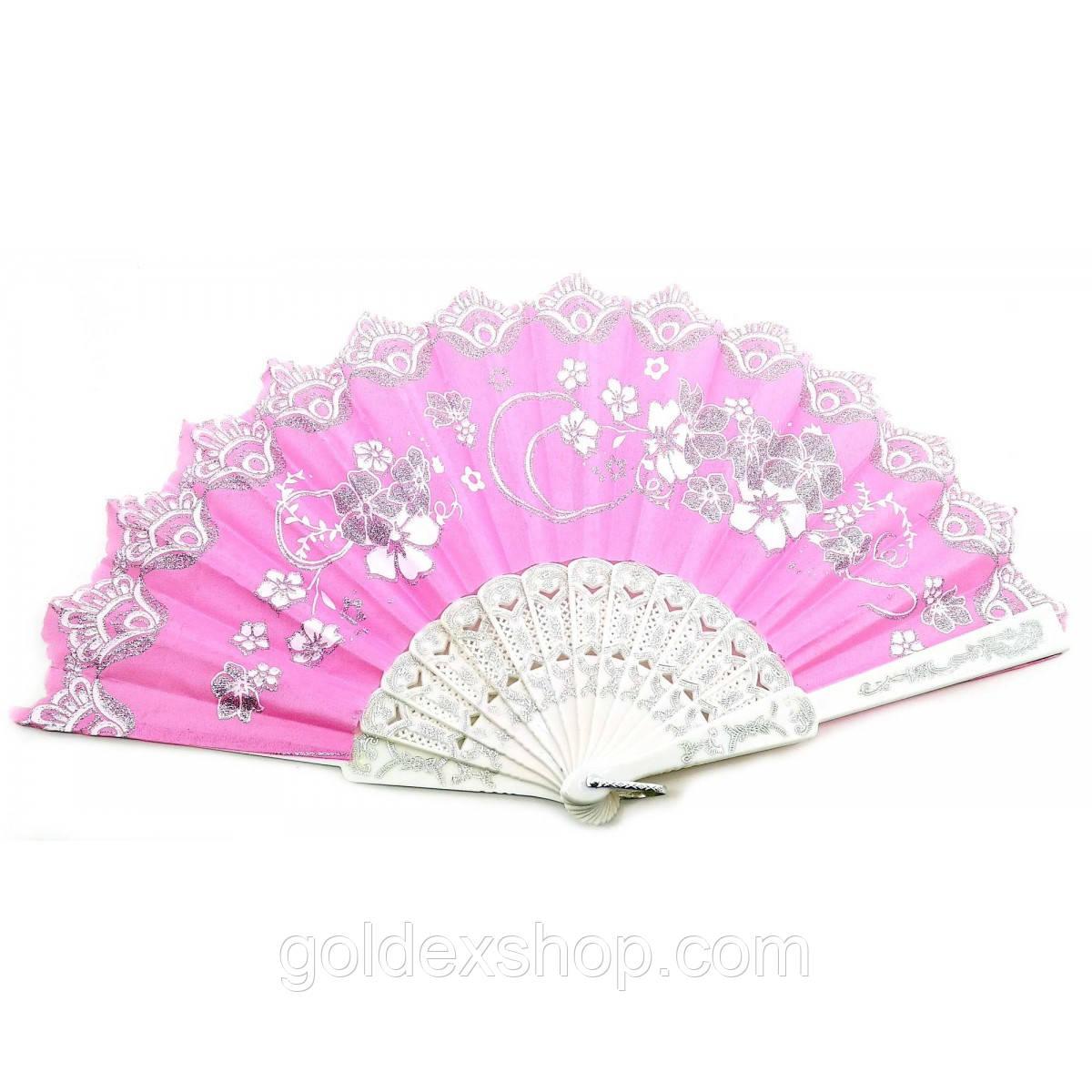 """Веер ручной """"Цветы"""" розовый (23 см)"""
