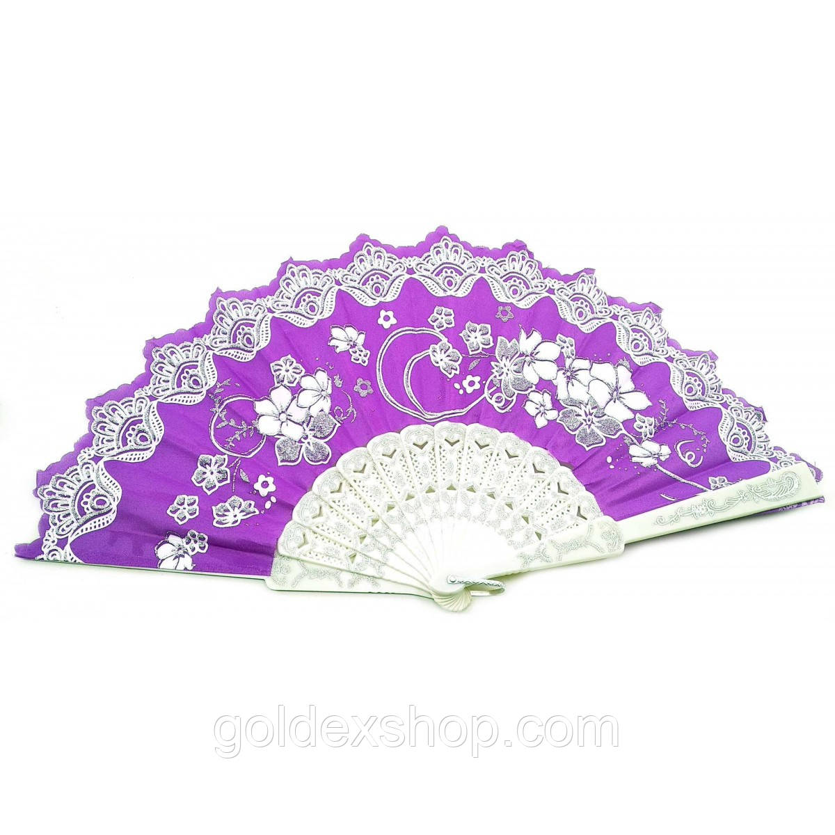 """Веер ручной """"Цветы"""" фиолетовый (23 см)"""