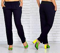 Синие женские брюки большого размера из льна