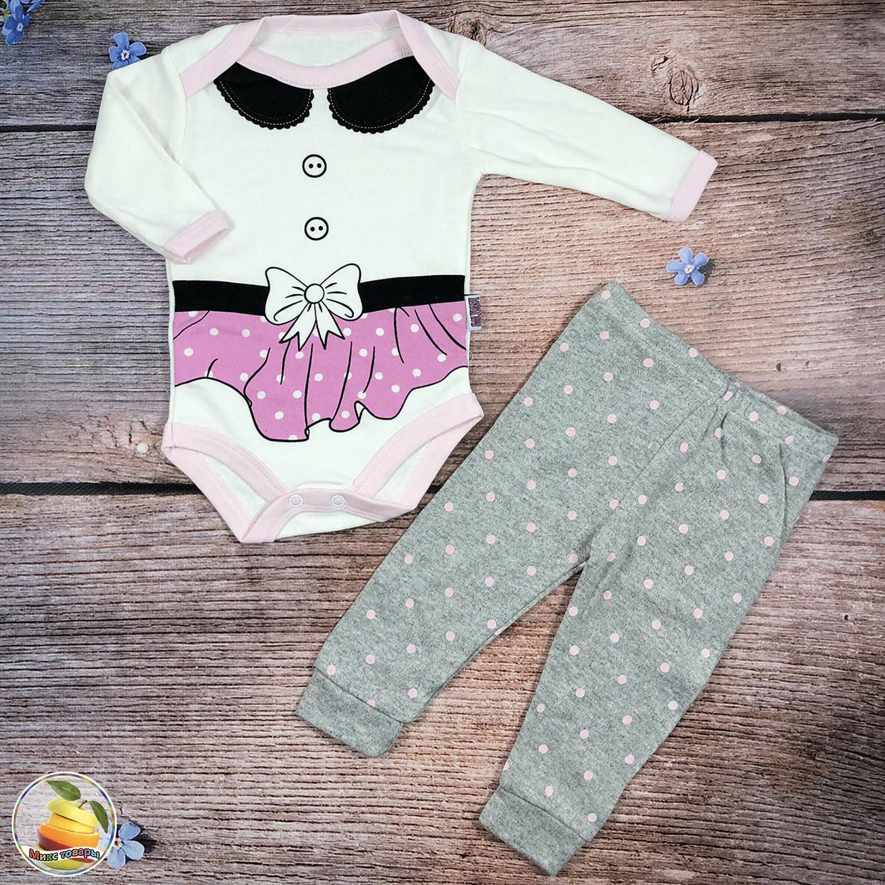 Боди и штанишки для маленькой девочки (Розовый) Размеры: 3,6,9 месяцев (8890-1)