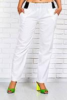 Белые женские брюки большого размера из льна