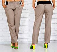 Бежевые женские брюки большого размера из льна