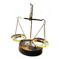 Весы рычажные бронзовые на деревянной подставке (до 50 гр.)