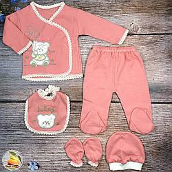 Набор для малыша- 5 предметов на вешалке (Терракотового цвета) Размер: от 0 до 3 месяцев (8892-3)