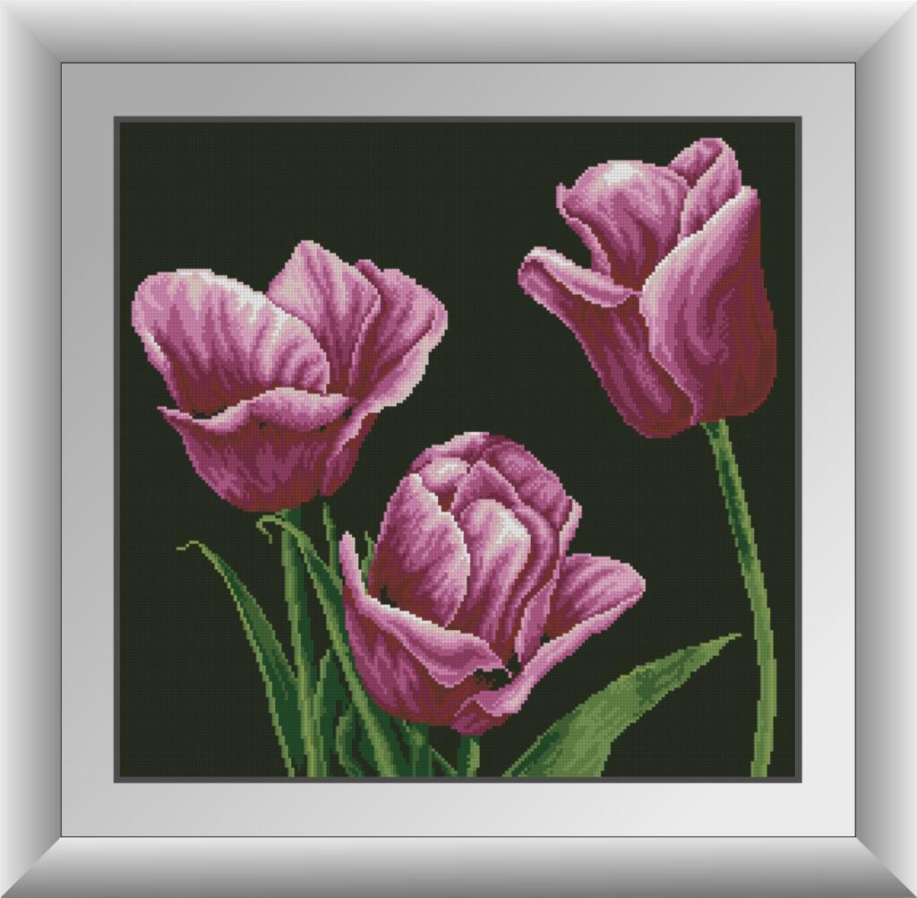 Набор алмазной мозаики Лиловые тюльпаны Dream Art 30869 (53 x 53 см)