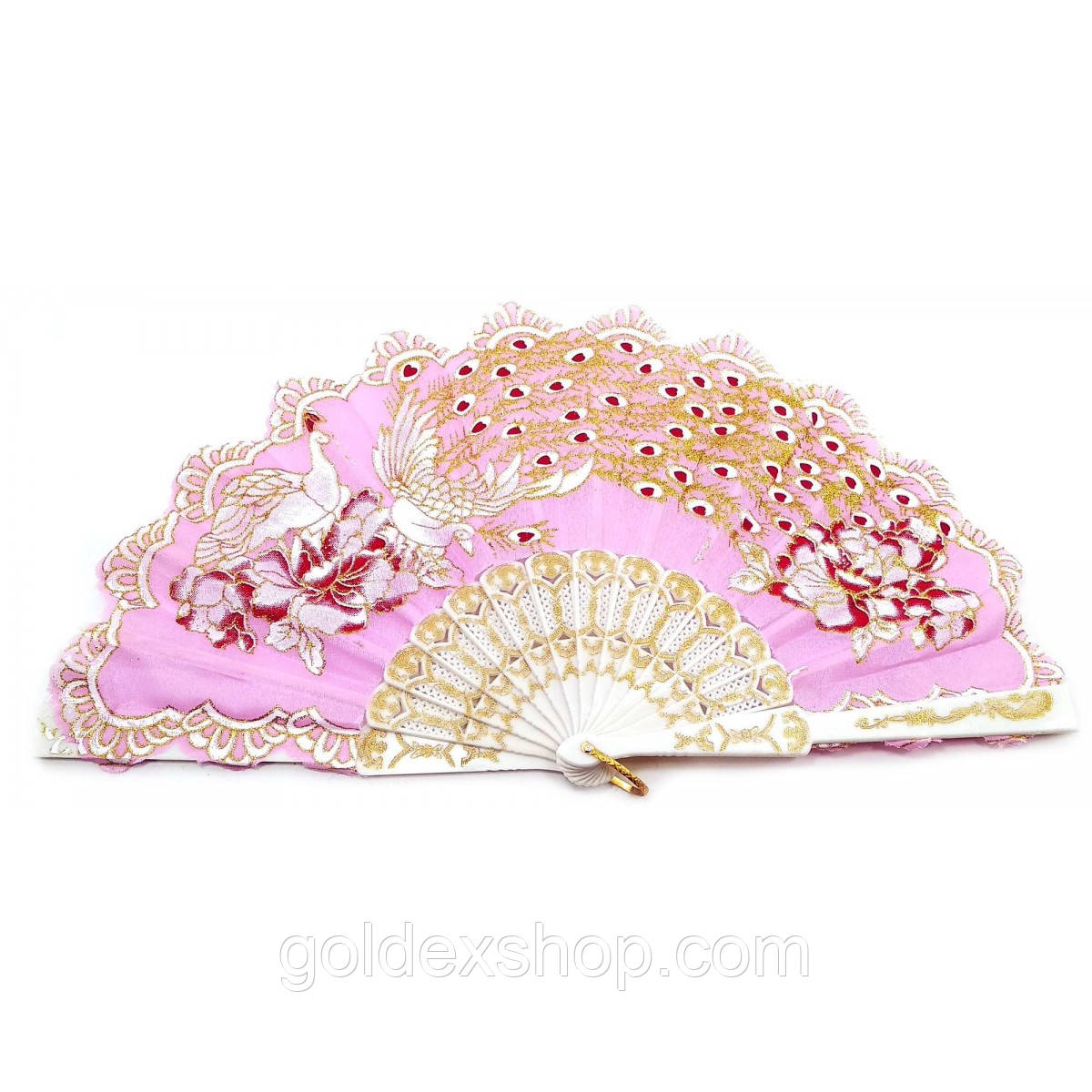 """Веер ручной """"Павлины"""" розовый (23 см)"""