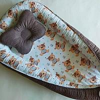 Подушка + позиционер для младенца, кокон, гнездышко, babynest Мишки Тедди