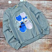 Нарядная трикотажная блузка с пайетами для девочки 152р