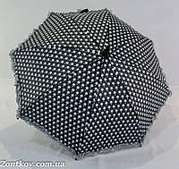 """Детский зонтик трость в горошек и рюшей по краю на 5-9 лет от фирмы """"Yuzont"""""""