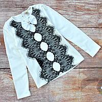 Школьная нарядная трикотажная блузка для девочки 128р