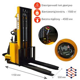 Штабелер электрический EQUIPMAX, грузоподъемность - 1,5 тонны, подъём - 4,5 м