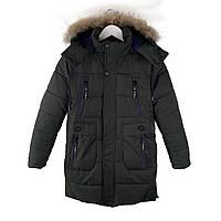 Зимняя куртка на мальчика курточка детская подростковая зима 146, 152 хаки