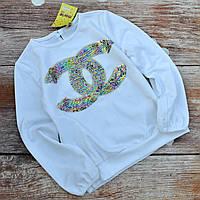 Нарядная трикотажная блуза для девочки 128р