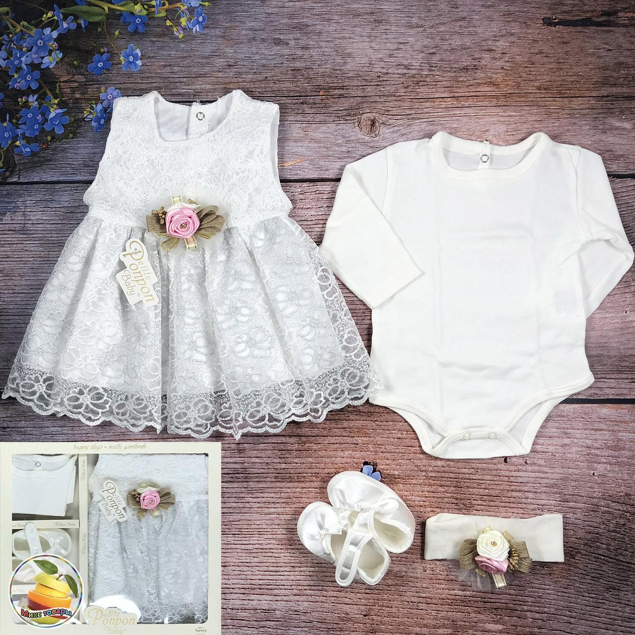 Набор с платьем на крещение (Серебро) Размер: 0-3 месяца (8902)