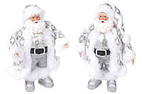 Новогодняя декоративная фигурка-подвеска Санта 17.5см в дисплей-коробке, цвет - белый с серебром, 2 вида