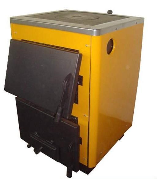 Твердотопливный котёл Огонек с плитой КОТВ-16П (СТАЛЬ 4мм)