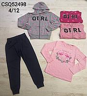 Трикотажный костюм 3 в 1 для девочек оптом, Seagull, 4-12 лет,  № CSQ-52498, фото 1