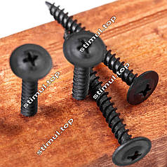 Саморез с прессшайбой острый Ø 4.2х16 ➜ 1000 шт/уп ➜ Саморіз з прессшайбою гострий ➜ Фосфатированный ➜ Чёрный