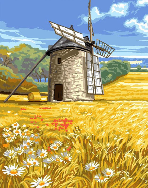 Картина по номерам Мельница на пшеничном поле, 40x50 см., Brushme