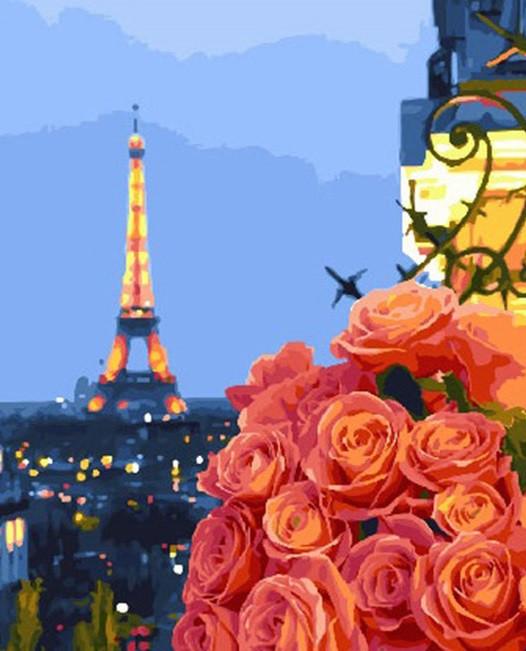 Картина по номерам Вечер в Париже, 40x50 см., Brushme