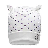 Милая шапочка для девочек цвет молочный