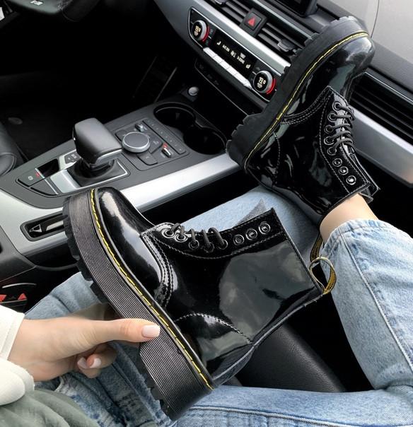 """Женские ботинки Dr.Martens Patent Platform """"Black"""" ( В стиле Мартинс )"""