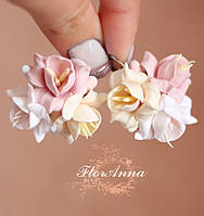 """Серьги с цветами """"Персиковая ваниль"""", фото 1"""