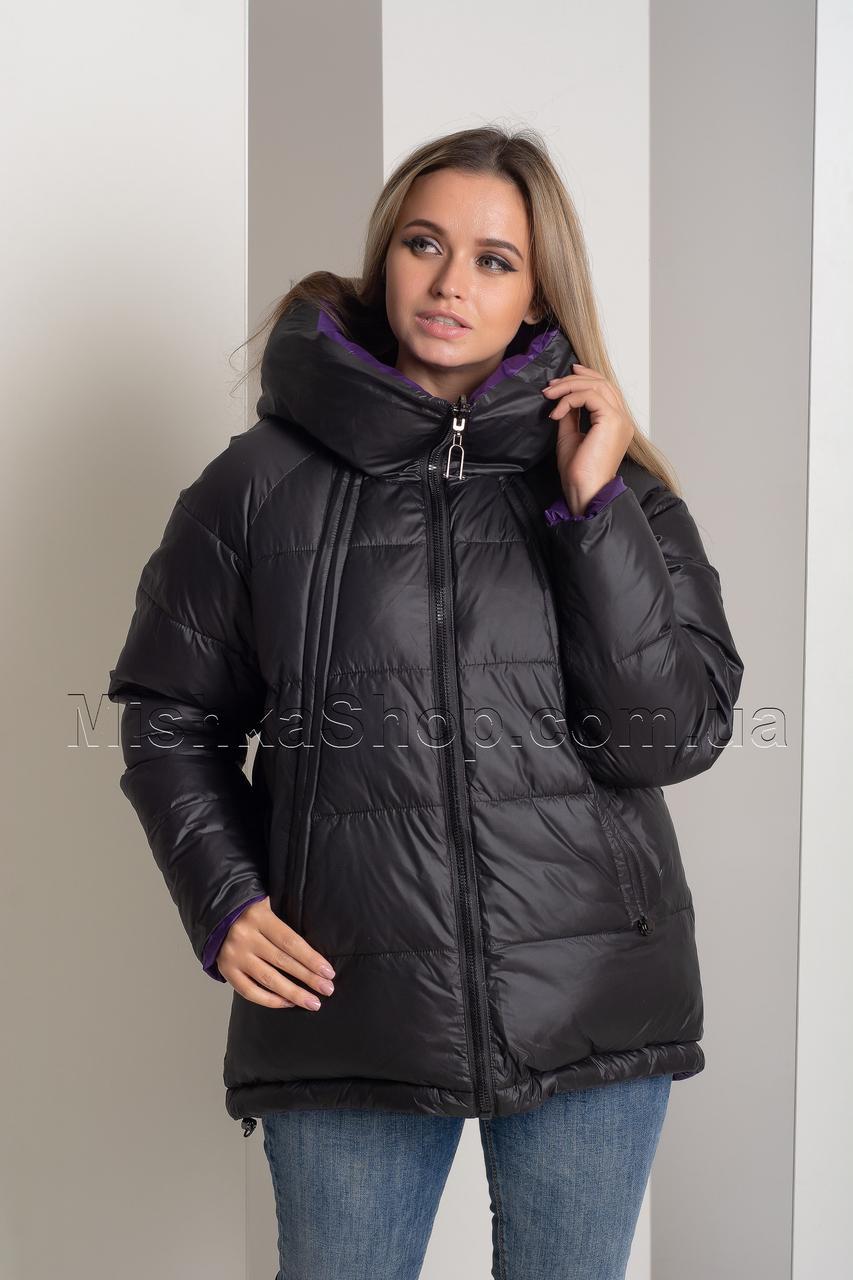Двусторонняя красивейшая зимняя куртка чёрный+фиолетовый Button J72-056