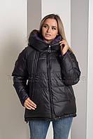Двусторонняя красивейшая зимняя куртка чёрный+фиолетовый Button J72-056, фото 1