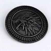 Значок на булавке с эмблемой Старков! Металлический значок Игра Престолов.