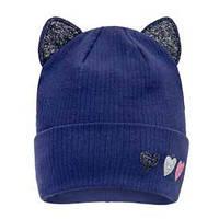 Синяя шапка с отворотом и ушками для девочки