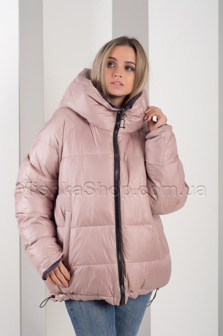 Двусторонняя красивейшая зимняя куртка больших размеров сирень+пудра Button J72-056