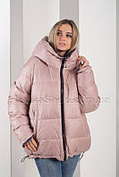 Двусторонняя красивейшая зимняя куртка больших размеров сирень+пудра Button J72-056, фото 1