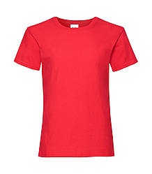 Футболка для девочек однотонная красная 005-40