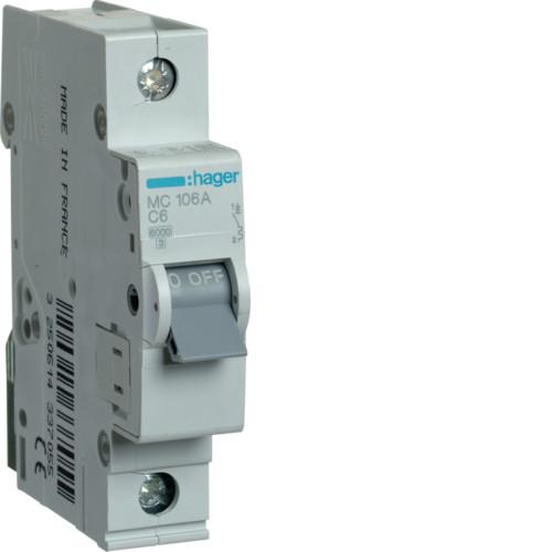 Автоматический выключатель 6А, 1п, С, 6 kA, hager, Франция